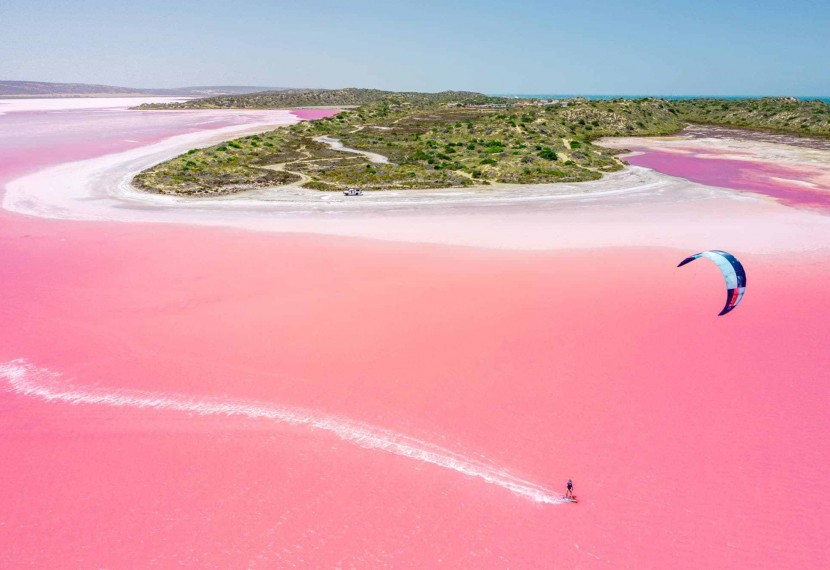 Hutt Lagoon, czyli różowy kitespot, który naprawdę robi wrażenie.